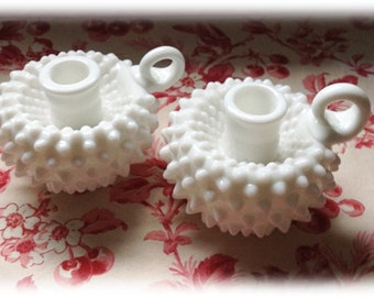 Pair of Vintage Fenton Hobnail Milk Glass Candle Holders