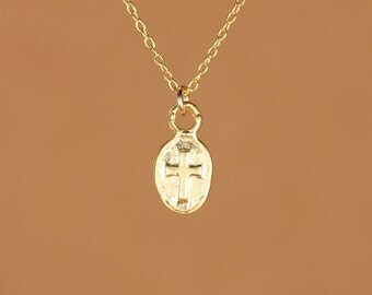 Cross necklace - religious necklace - catholic necklace - christian necklace - a tiny gold cross charm on a 14k gold vermeil chain
