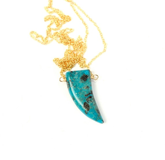 Turquoise necklace - turquoise tusk necklace - coachella necklace - a genuine mexican turquoise pendant on a 14k gold vermeil chain