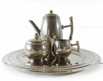 Silver Metal French Art Deco Coffee  Set
