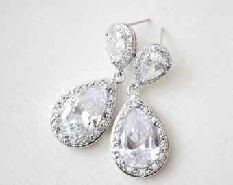 Large Crystal Teardrop Bridal Earrings, Crystal Earrings, CZ Teardrop Earrings, Statement Wedding Earrings
