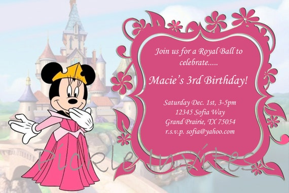 Items Similar To Minnie Mouse Princess Invitation And Minnie Mouse Princess Printable