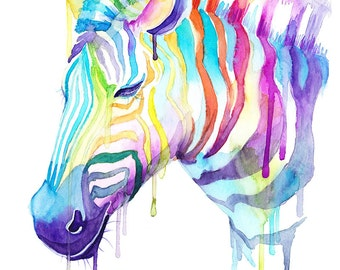 Colorful Zebra Watercolor Print - Wild Animals - Cool art - Gifts - Kawaii
