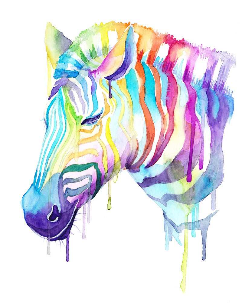 colorful zebra watercolor print wild animals cool art. Black Bedroom Furniture Sets. Home Design Ideas