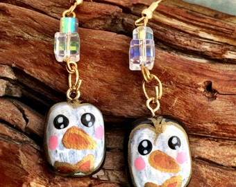 Penguin Polymer Clay Earrings - AB Crystal Accents, Hand-Painted, Nickel-Free, Hypoallergenic