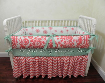 Custom Baby Crib Bedding Set Desiree - Coral and Mint Baby Bedding, Girl Baby Bedding