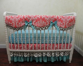 Custom Crib Bedding Set Priscilla - Girl Baby Bedding, Bumperless Crib Bedding with Scalloped Rail Guard in Coral and Turquoise