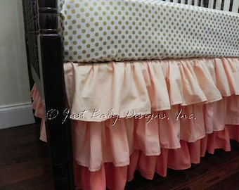 Coral Ombre Ruffle Crib Skirt