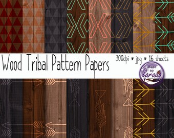 Wood Tribal Pattern Papers, tribal patterns in brown, beige and grey earth tones for scrapbooking, neutral colors, wooden texture