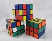 3 Vintage 1980s Rubik's Cubes Ideal Toy Mind Game Puzzles Pocket Game