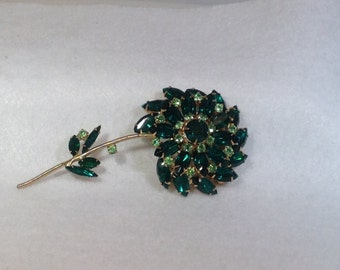 Large Green Juliana Flower Brooch