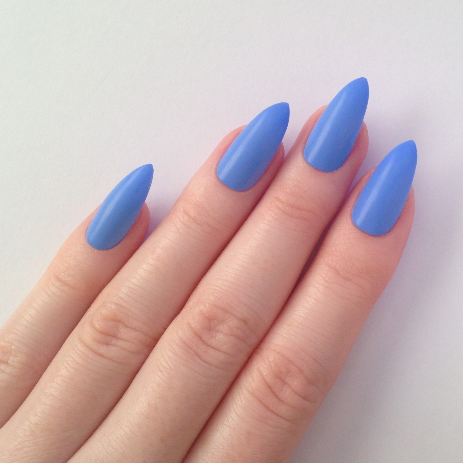 Matte periwinkle blue stiletto nails Nail by ...