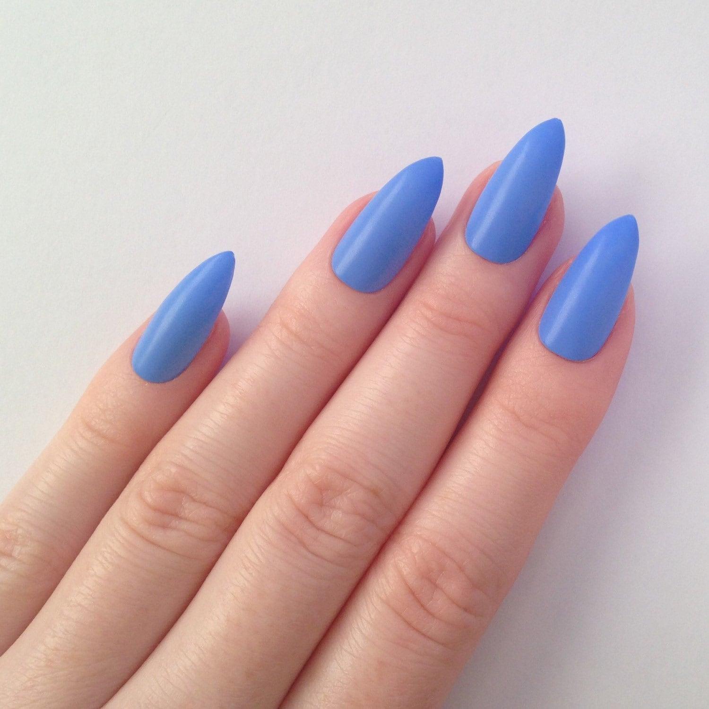 Matte periwinkle blue stiletto nails Nail by prettylittlepolish
