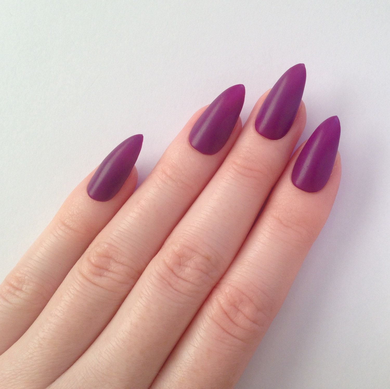 Purple Stiletto Nails - mdha