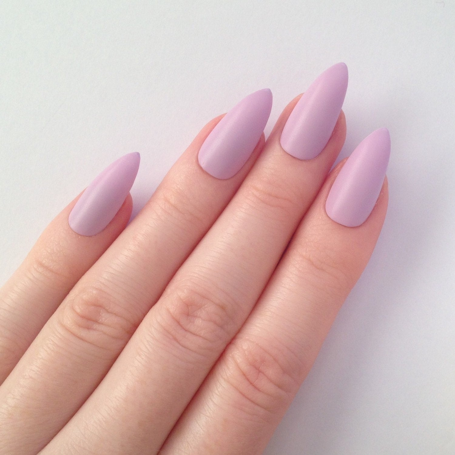 Matte Lilac Stiletto Nails