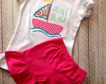 SALE Summer Sailboat Ruffle shirt with matching ruffle shorts