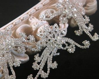 3 Piece Authentic Rhinestone Applique ~ Crystal Applique ~ Bridal Applique, Wedding Applique, Sash Applique, Headband Jewelry, RA-009