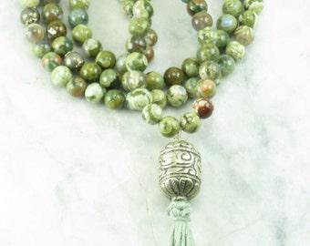 Naga Mala - Rainforest Jasper Mala Beads- Buddhist Prayer Beads, 108 Mala Beads - Connecting to nature, invigorating energy