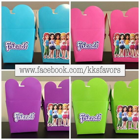 Caribbean Blue Favor Boxes : Friends girls lego favor boxes set of