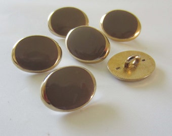 Small Oval Gold Colour and Mink / Donkey Grey Button Fastener - sold individually