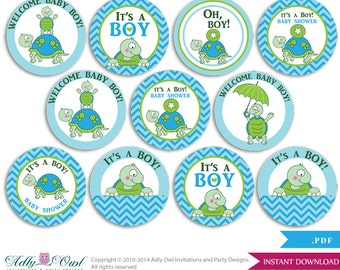 Boy Turtle  Cupcake Toppers for Baby Shower Printable DIY, favor tags, circles, It's a Boy, Chevron - ONLY digital file - ao70bs0