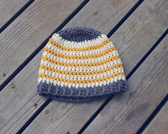 Striped crochet baby hat