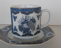 Peacock Teacup And Saucer, Only , Pottery House , made in Japan, Peacock Decor , FREE USA SHIPPING
