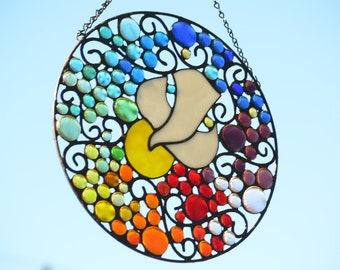 Stained Glass Panel, Stained Glass Round Hanging Panel, Religious Stained Glass Art, 'Dove with Rainbow'