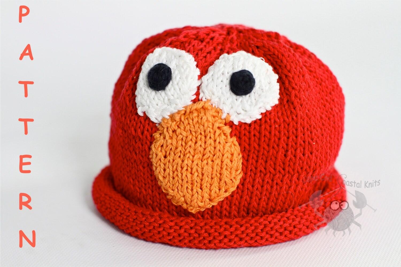 Elmo Knitting Pattern : Elmo from Sesame Street Knit Hat Beanie Pattern e pattern