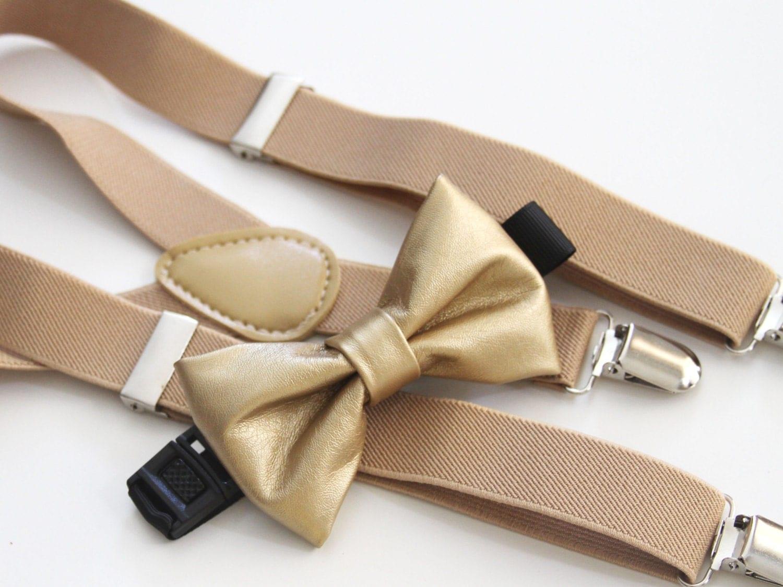 Christmas gold bow-tie & beige elastic suspender set
