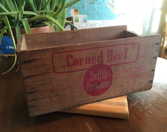 Vintage Swift's Corned Beef Wooden Advertising Crate