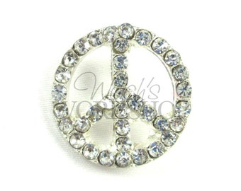 Peace Sign - Set of 2 Metal Buttons - 25mm Rhinestone Buttons - MB-121