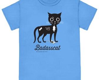 BADASSCAT Non-Smoking on Blue Unisex Cat Tee Shirt