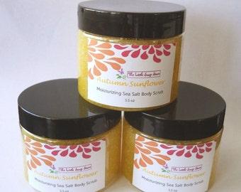 Autumn Sunflower Sea Salt Scrub, Salt Body Scrub, Fall, Scrub, Exfoliating Scrub, Body Polish