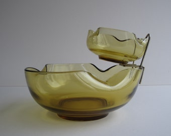 """1960's Accent Modern """"Chip & Dip """" Bowl Set with Brass Bowl Holder in Autumn Gold by Anchor Hocking AH01"""