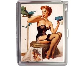 Pin up Girl Cigarette Case Lighter Wallet Business Card Holder