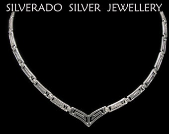 Sterling Silver 925 Ancient Greek Eternity Key Meander Modern Necklace 44 cm 17.16 inches FREE SHIPPING