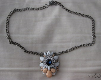 Blue CZ Statement Necklace with Beads