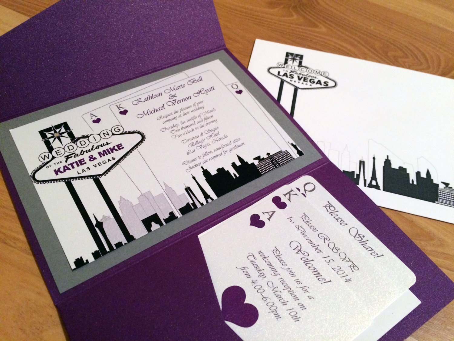 Elegant las vegas themed wedding invitation custom colors for Wedding invitations las vegas nv