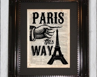 Paris Typographic Print, Dictionary Art Print, Upcycled Book Art, Silhouette, dictionary page Wall Decor, Wall Hanging, Mixed Media Art