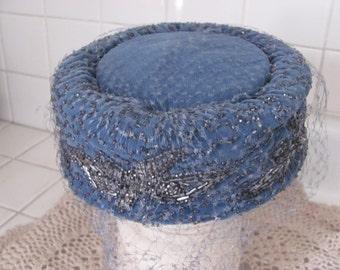 Blue velvet pillbox hat with beads