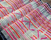 Vintage Hmong Tribal Fabric Handmade Ethnic Batik Crafting Textile supplies