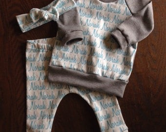 Personalized Name Bundle in Organic Cotton - Leggings, Raglan and Top Knot Headband - you choose print