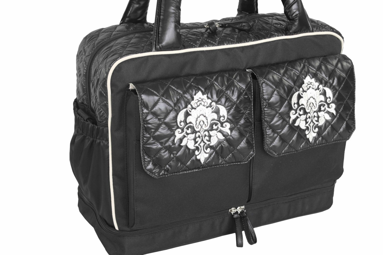 black quilted diaper bag for twins two kids by theyellowpacifier. Black Bedroom Furniture Sets. Home Design Ideas