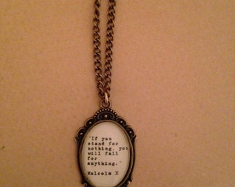 Malcolm X Quote Necklace -  Handmade Unique