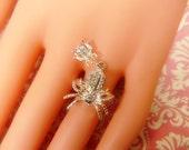 RESERVED for Remembering---Vintage Silver Spider Ring -- Size Adjustable - R-082