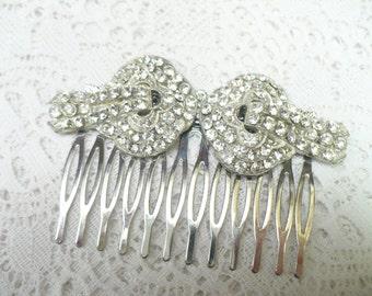 Authentic Vintage Art Deco RHINESTONE Hair Comb - silver tone pot metal - vintage WEDDING -vintage BRIDAL - Gatsby Wedding - Flapper 1920s