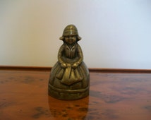 Antique Lady Solid Brass Bell; collectables; antique collectibles; bells; brass bells; 1930s bell; brass ornament; display; crinoline lady