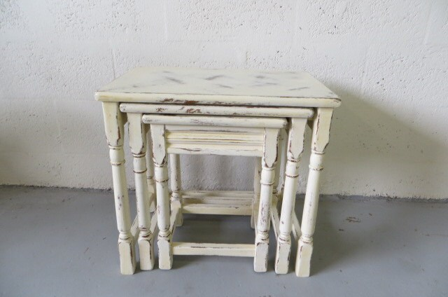 Vintage european shabby chic nesting table by theyellowcanopy