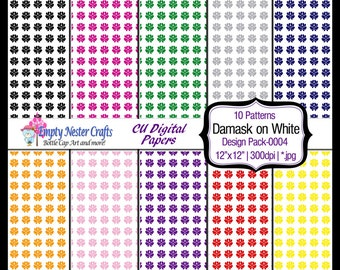 Damask Digital Paper pack 12x12, set0004, rainbow colors, Commercial use ok